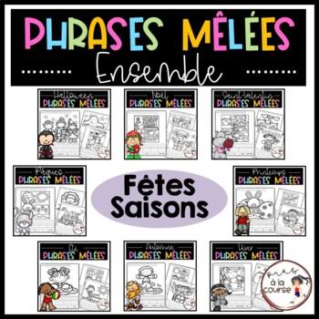 Cut and Paste Sentence Big Bundle /Ensemble Phrases mêlées-SAISONS et FÊTES