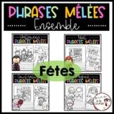Cut and Paste Sentence Holidays Bundle /Découpe, colle et écris- Phrases mêlées