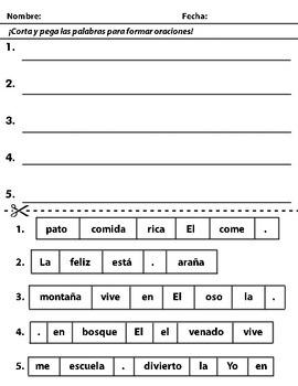 Cut and Paste Sentence Scramble - Oraciones reburujadas (SPANISH AND ENGLISH)