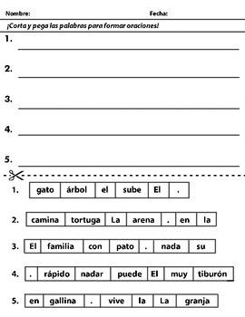 Cut and Paste Sentence Scramble - Oraciones reburujadas (S
