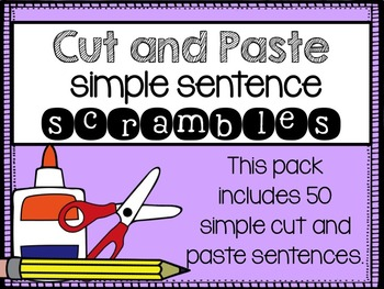 Cut and Paste Sentence Scramble Worksheets {Cut and Glue S