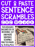 Cut and Paste Sentence Scrambles CVC Words