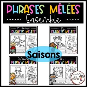 Cut and Paste Sentence Season Bundle /Découpe, colle et écris- Phrases mêlées