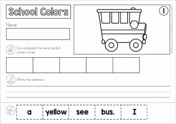 Sentence Scramble with Cut and Paste Worksheets - School Colors