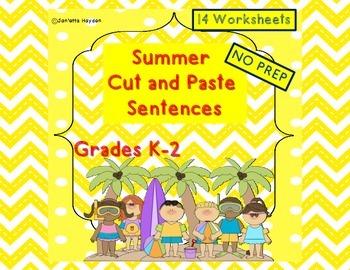 Cut and Paste Sentences - Summer