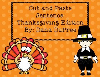 Cut and Paste Sentences--Thanksgiving