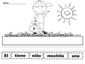 Oraciones revueltas Scrambled Sentences SEPTEMBER  in Spanish