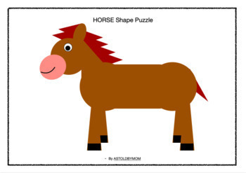 NO PREP Cut and Paste Shape CRAFT -18 Animal Shape Puzzles