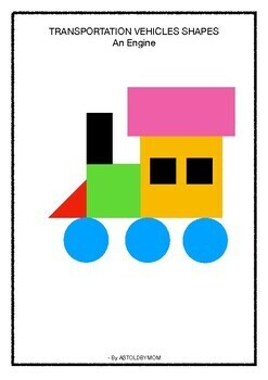 Vehicles with SHAPES - Cut & Paste Puzzle Craft Activity (Transportation theme)