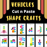 Vehicles with SHAPES - Cut & Paste Craft Activity -Transpo