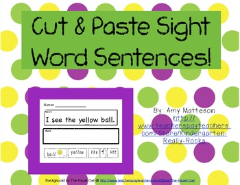 Cut and Paste Sight Word Sentences