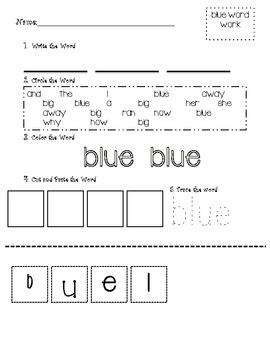 Cut and Paste Sight Words - Dolch