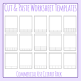 Cut and Paste Style Worksheet Templates / Layouts Clip Art for Commercial Use