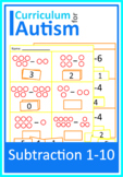 Subtraction 1-10 Worksheets Autism Special Education Cut and Paste
