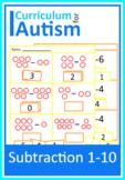Subtraction 1-10 Worksheets Autism Cut Paste