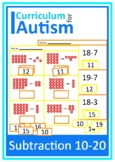 Subtraction 10-20 Cut and Paste Autism Special Education