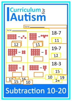 Subtraction 10-20 Autism Math Worksheets, Cut & Paste, Spe