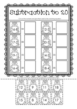 Cut and Paste Subtraction to 20 (Twenty) Worksheets / Printables / Math Centers