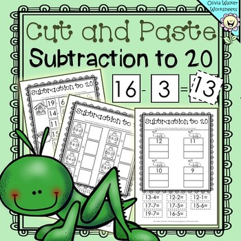 Cut and Paste Subtraction to 20 (Twenty) Worksheets / Prin