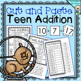 Cut and Paste Teen Addition, Adding with ten Worksheets, Printables,Math Centers