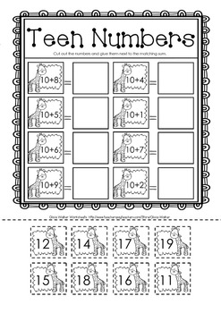 cut and paste teen addition adding with ten worksheets printables math centers. Black Bedroom Furniture Sets. Home Design Ideas