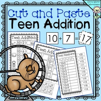 Cut and Paste Teen Addition, Adding with ten Worksheets, P