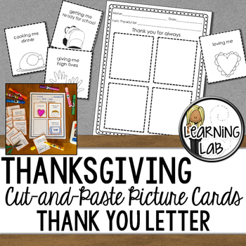 #spedgivesthanks Cut and Paste Thank You Letter Picture Cards