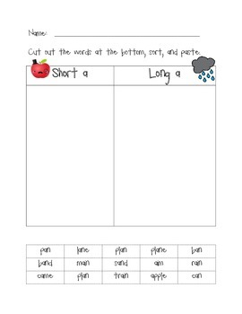 Cut and Paste Vowel Word Sorts