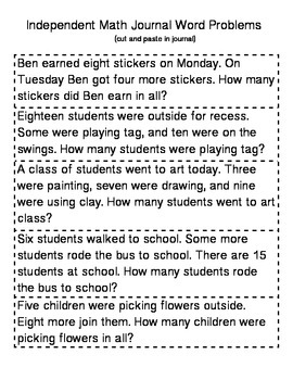 Cut and Paste Word Problems