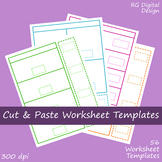 Cut and Paste Worksheet Template Clipart Images for TPT Se
