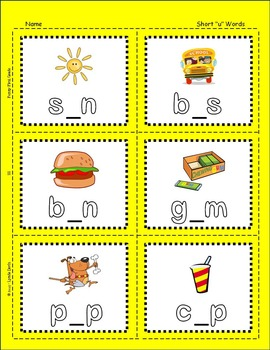 Short Vowels Sentences With Short U Words By Funny First Grade