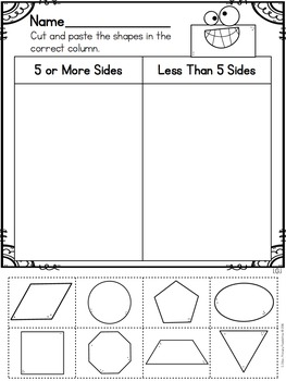 Cut and Paste Worksheets for First Grade ( Geometry )