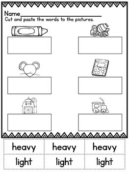 Cut and Paste Worksheets for Kindergarten ( MD )