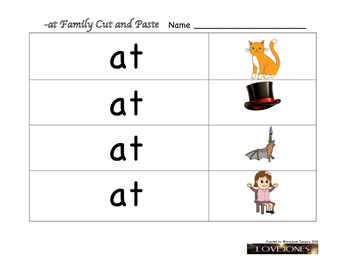 Cut and Paste - at word family Beginning Sounds