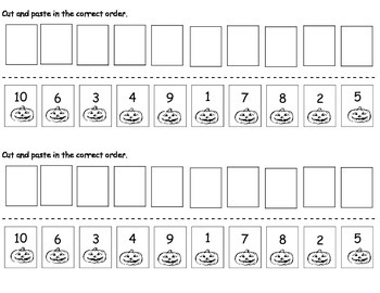 Cut and Paste numbered pumpkins 1 to 10