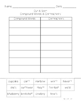 Cut & Sort Compound Words & Contractions
