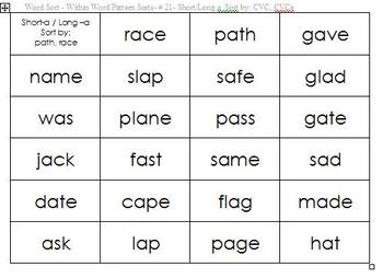 Cut and Sort Word Study - Within Word Pattern Spelling Stage - Phonics