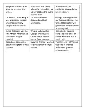 Cut and Sort fact and opinions on Famous Americans