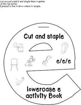 Cut and Staple Lowercase e Acvity Book