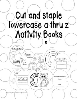 Cut and Staple Lowercase c Activity Book