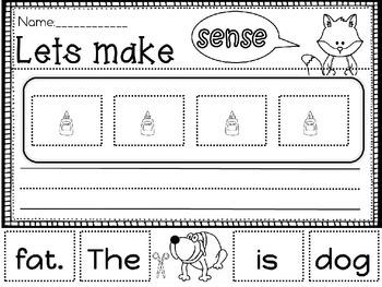 Free Cut and glue sentences