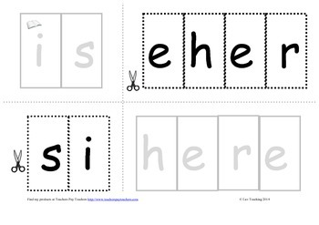 "Cut and paste sentence match independent literacy activity ""Here is a"""