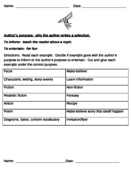 Cut and paste author's purpose activity