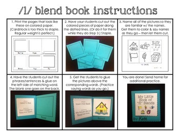 Cut and paste mini books for L blends - no laminating! Ink saver!