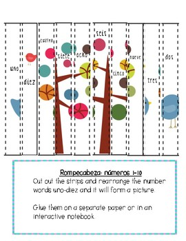Cut and paste puzzles-number order 1-10