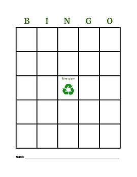 Cut and paste recycling bingo