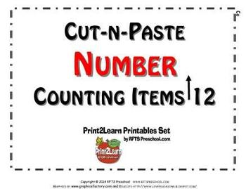 Cut-n-Paste NUMBERS: Counting Items to 12