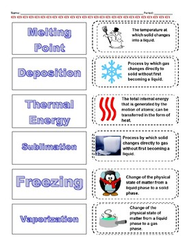 Cut-n-Paste Vocabulary: Changes in States of Matter