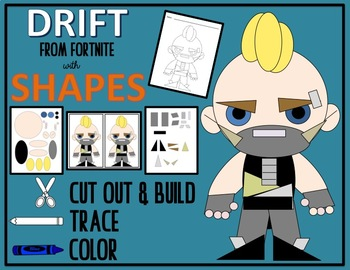 Cut out, Build, Color & Trace with Shapes - FORTNITE DRIFT