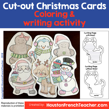 Cut out Coloring Christmas Cards - Cute Printable Writing - DIY - Craft